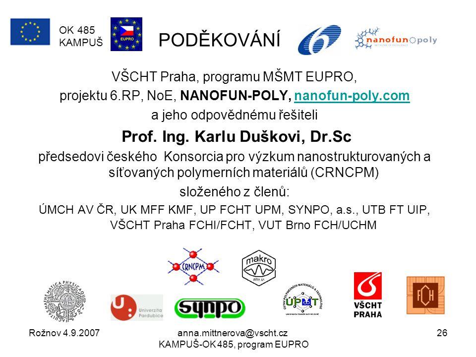 Rožnov 4.9.2007anna.mittnerova@vscht.cz KAMPUŠ-OK 485, program EUPRO 26 PODĚKOVÁNÍ VŠCHT Praha, programu MŠMT EUPRO, projektu 6.RP, NoE, NANOFUN-POLY, nanofun-poly.comnanofun-poly.com a jeho odpovědnému řešiteli Prof.