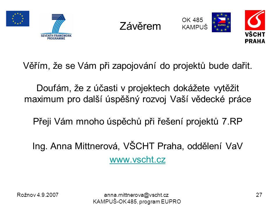 Rožnov 4.9.2007anna.mittnerova@vscht.cz KAMPUŠ-OK 485, program EUPRO 27 Závěrem Věřím, že se Vám při zapojování do projektů bude dařit.
