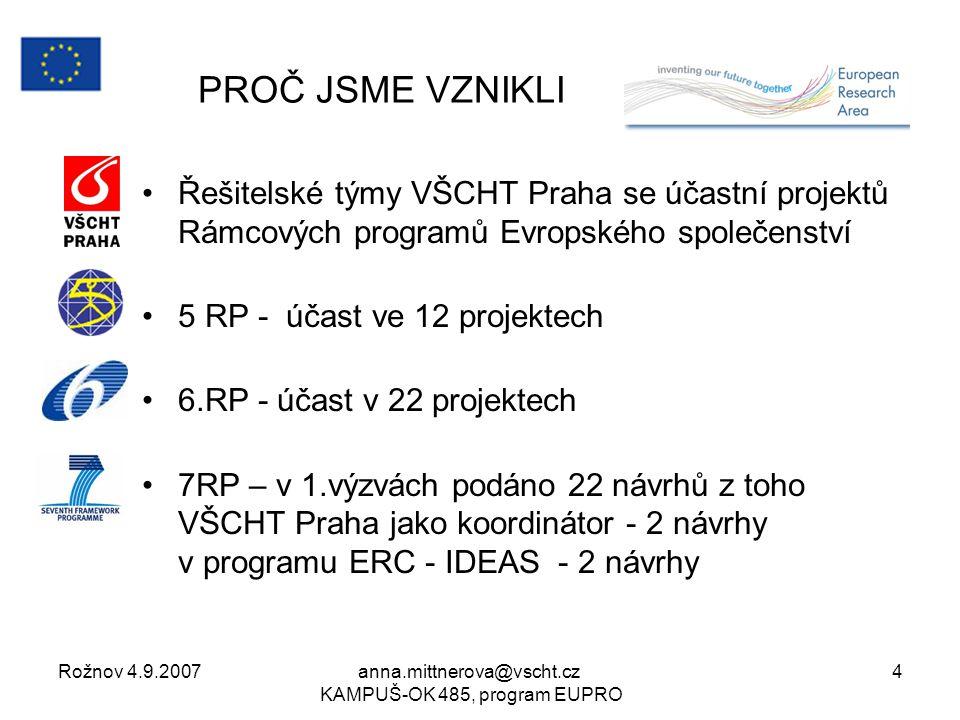 Rožnov 4.9.2007anna.mittnerova@vscht.cz KAMPUŠ-OK 485, program EUPRO 4 PROČ JSME VZNIKLI Řešitelské týmy VŠCHT Praha se účastní projektů Rámcových programů Evropského společenství 5 RP - účast ve 12 projektech 6.RP - účast v 22 projektech 7RP – v 1.výzvách podáno 22 návrhů z toho VŠCHT Praha jako koordinátor - 2 návrhy v programu ERC - IDEAS - 2 návrhy