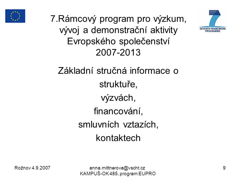 Rožnov 4.9.2007anna.mittnerova@vscht.cz KAMPUŠ-OK 485, program EUPRO 9 7.Rámcový program pro výzkum, vývoj a demonstrační aktivity Evropského společenství 2007-2013 Základní stručná informace o struktuře, výzvách, financování, smluvních vztazích, kontaktech