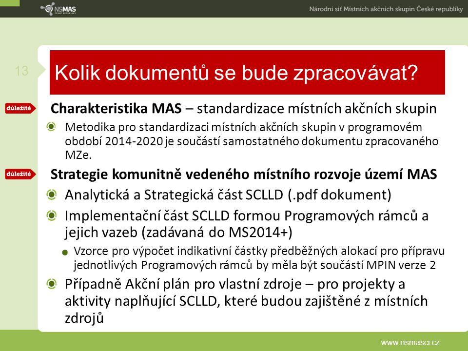 Kolik dokumentů se bude zpracovávat? Charakteristika MAS – standardizace místních akčních skupin Metodika pro standardizaci místních akčních skupin v