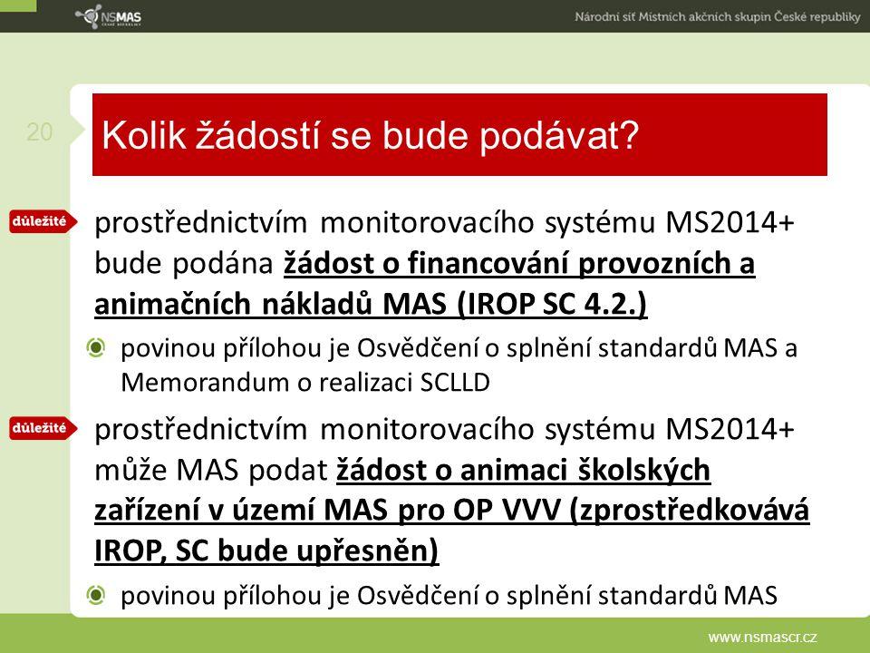 Kolik žádostí se bude podávat? prostřednictvím monitorovacího systému MS2014+ bude podána žádost o financování provozních a animačních nákladů MAS (IR