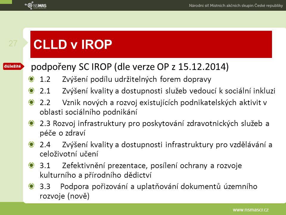 CLLD v IROP podpořeny SC IROP (dle verze OP z 15.12.2014) 1.2 Zvýšení podílu udržitelných forem dopravy 2.1 Zvýšení kvality a dostupnosti služeb vedou