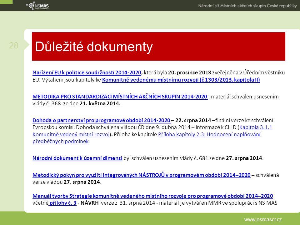 Důležité dokumenty Nařízení EU k politice soudržnosti 2014-2020Nařízení EU k politice soudržnosti 2014-2020, která byla 20. prosince 2013 zveřejněna v