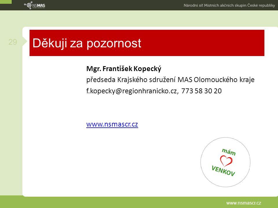 Děkuji za pozornost Mgr. František Kopecký předseda Krajského sdružení MAS Olomouckého kraje f.kopecky@regionhranicko.cz, 773 58 30 20 www.nsmascr.cz