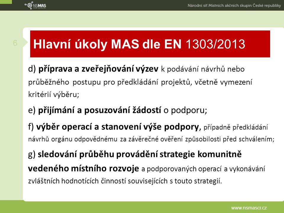 Hlavní úkoly MAS dle EN 1303/2013 d) příprava a zveřejňování výzev k podávání návrhů nebo průběžného postupu pro předkládání projektů, včetně vymezení