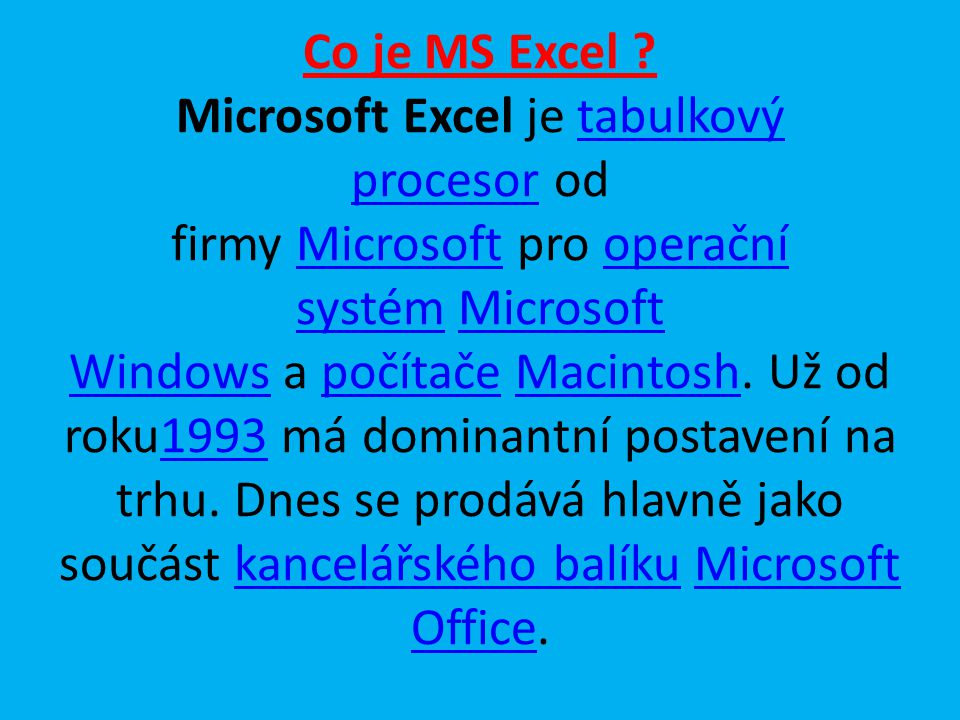 Co je MS Excel .