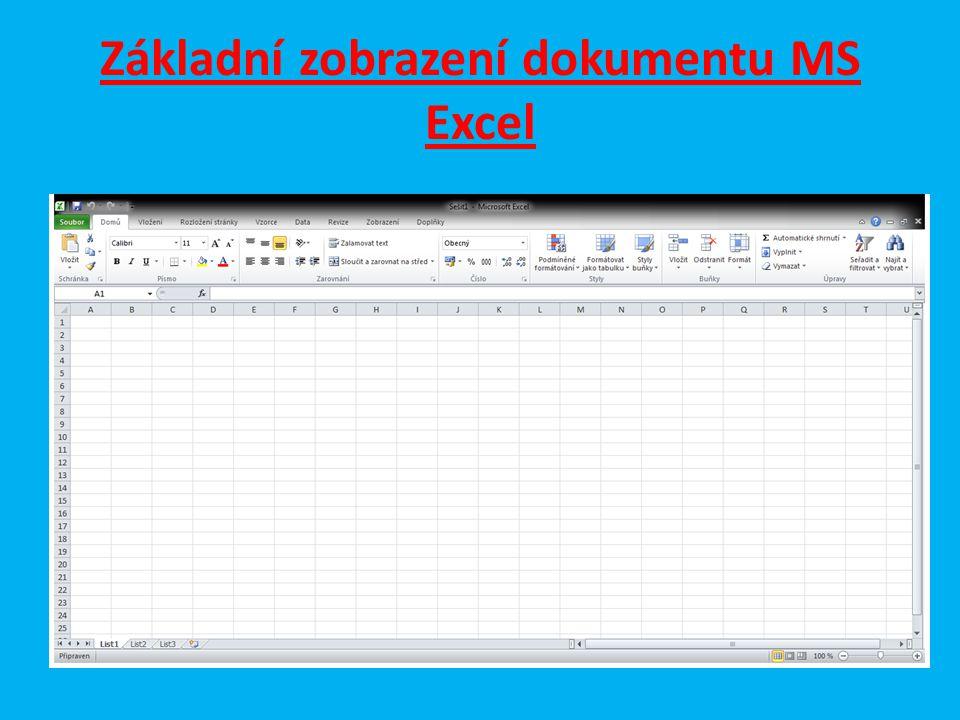 Základní zobrazení dokumentu MS Excel