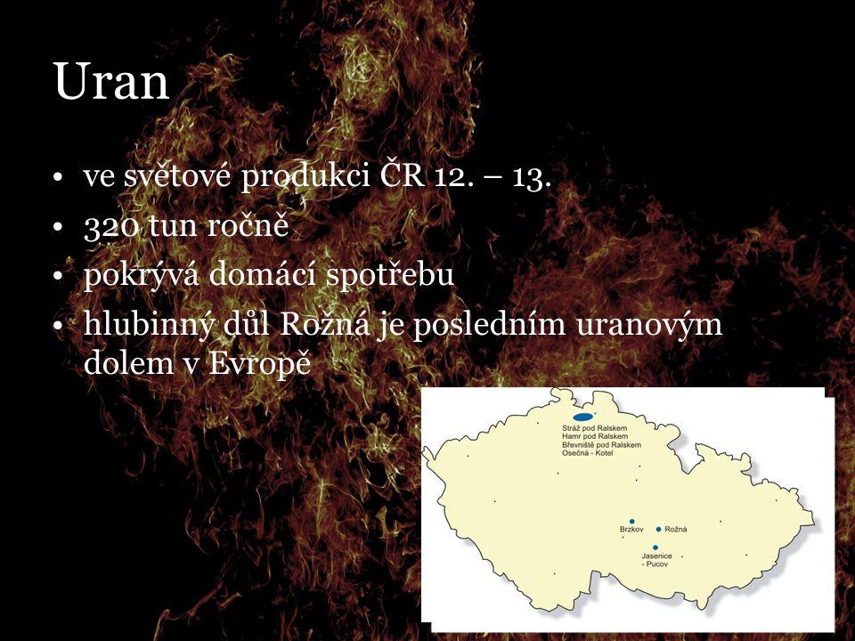 Uran ve světové produkci ČR 12. – 13. 320 tun ročně pokrývá domácí spotřebu hlubinný důl Rožná je posledním uranovým dolem v Evropě