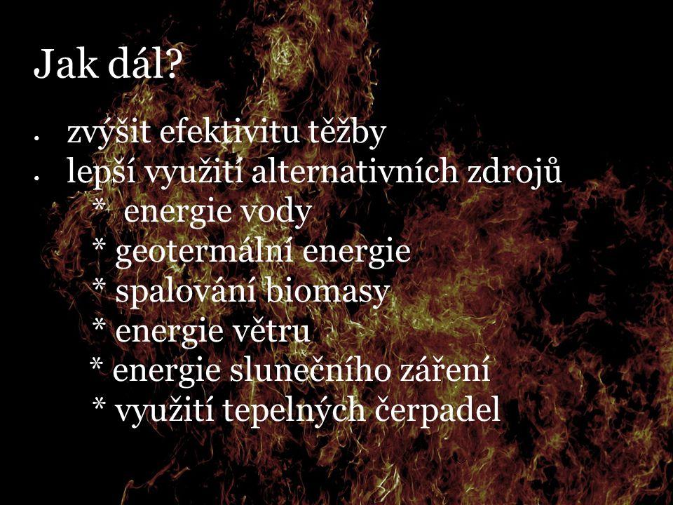 Jak dál? zvýšit efektivitu těžby lepší využití alternativních zdrojů  * energie vody  * geotermální energie  * spalování biomasy  * energie větru