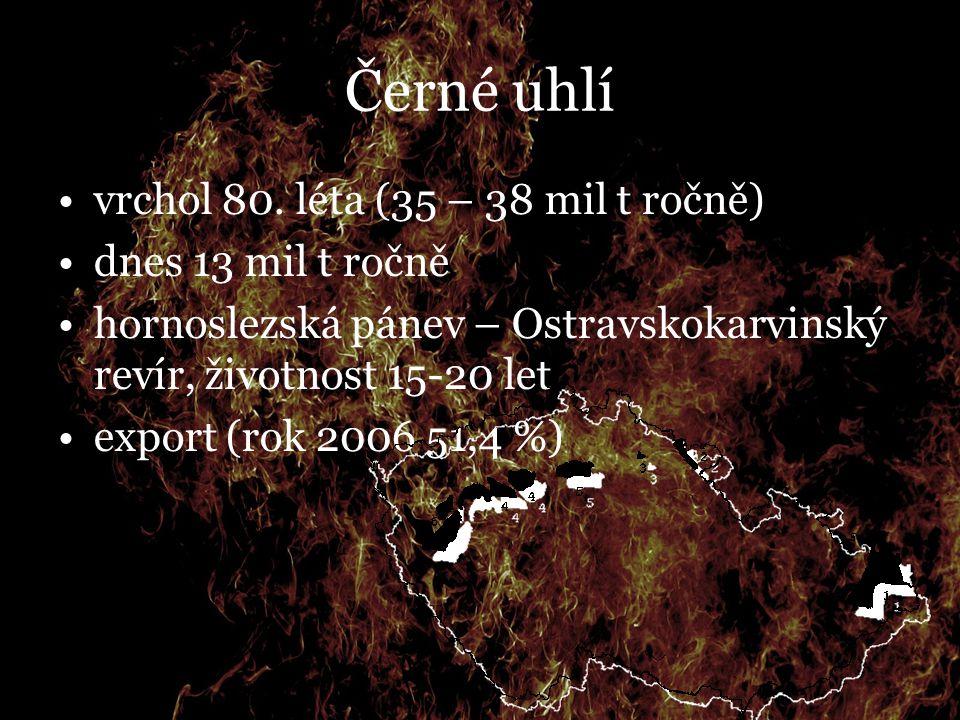 Černé uhlí vrchol 80. léta (35 – 38 mil t ročně) dnes 13 mil t ročně hornoslezská pánev – Ostravskokarvinský revír, životnost 15-20 let export (rok 20