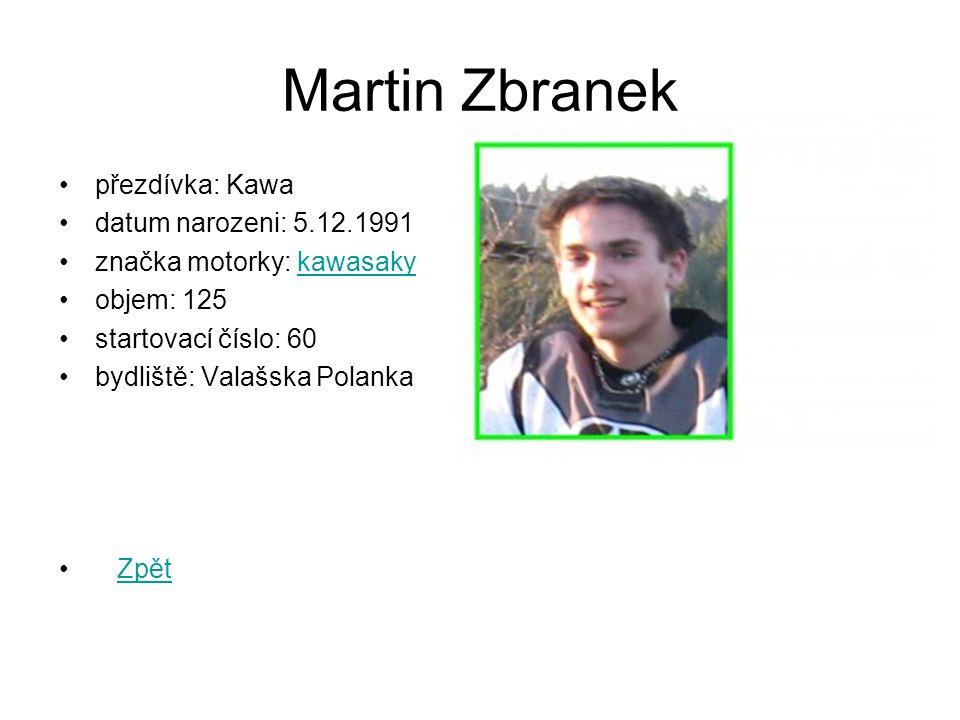 Martin Zbranek přezdívka: Kawa datum narozeni: 5.12.1991 značka motorky: kawasakykawasaky objem: 125 startovací číslo: 60 bydliště: Valašska Polanka Zpět