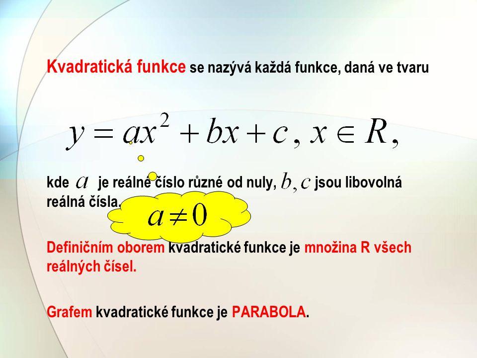 Kvadratická funkce se nazývá každá funkce, daná ve tvaru kde je reálné číslo různé od nuly, jsou libovolná reálná čísla. Definičním oborem kvadratické