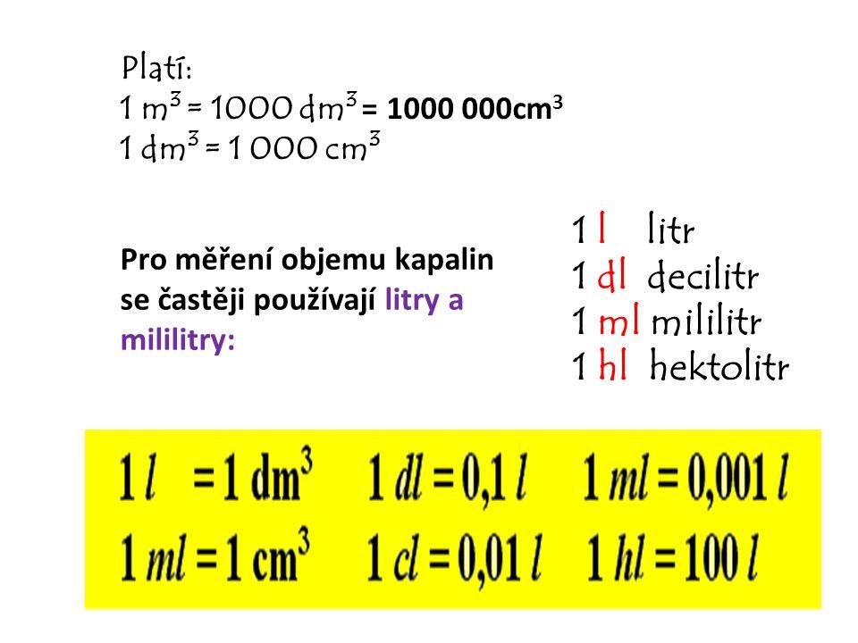Pro měření objemu kapalin se častěji používají litry a mililitry: 1 l litr 1 dl decilitr 1 ml mililitr 1 hl hektolitr Platí: 1 m 3 = 1000 dm 3 = 1000 000cm 3 1 dm 3 = 1 000 cm 3