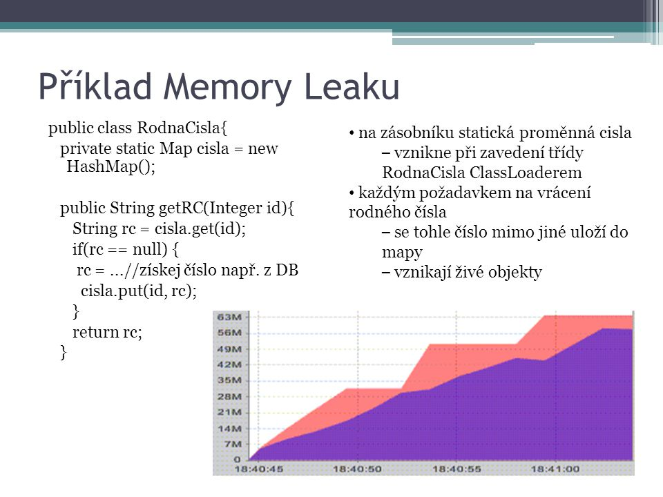 Příklad Memory Leaku public class RodnaCisla{ private static Map cisla = new HashMap(); public String getRC(Integer id){ String rc = cisla.get(id); if
