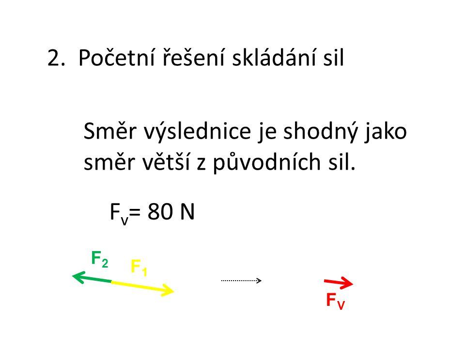 2. Početní řešení skládání sil Směr výslednice je shodný jako směr větší z původních sil. F v = 80 N FVFV F2F2 F1F1
