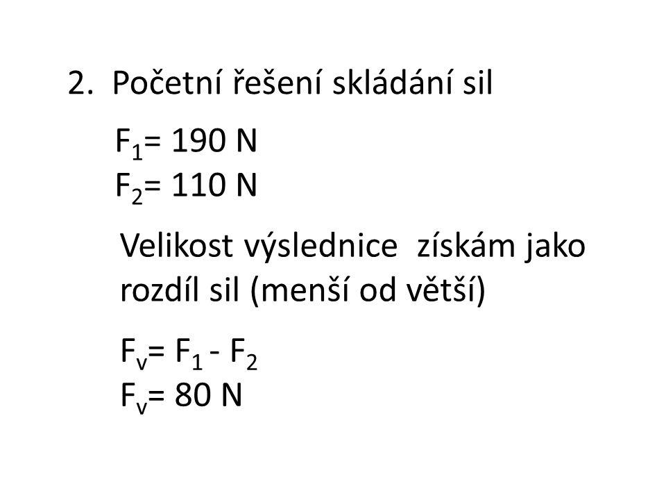 2. Početní řešení skládání sil F 1 = 190 N F 2 = 110 N F v = F 1 - F 2 F v = 80 N Velikost výslednice získám jako rozdíl sil (menší od větší)