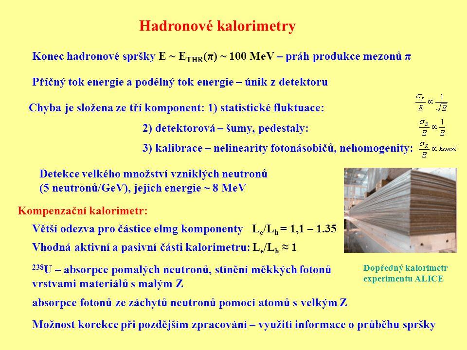 Kompenzační kalorimetr: Hadronové kalorimetry Příčný tok energie a podélný tok energie – únik z detektoru Větší odezva pro částice elmg komponenty L e