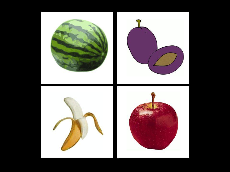 3. ÚKOL: Zapamatování si pozice ovoce B (středně těžké) Nejprve dítě fixuje zrakem pozici ovoce, po kliknutí na repráček se ozve zvuková nahrávka názv