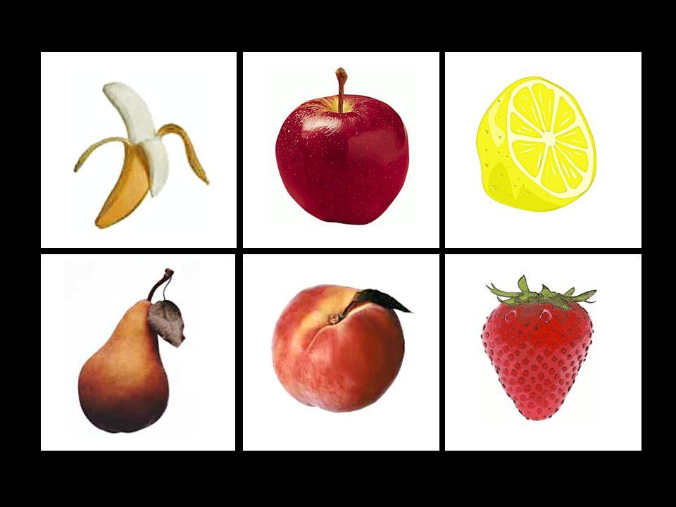4. ÚKOL: Zapamatování si pozice ovoce C (těžké) Nejprve dítě fixuje zrakem pozici ovoce, po kliknutí na repráček se ozve zvuková nahrávka názvu ovoce.