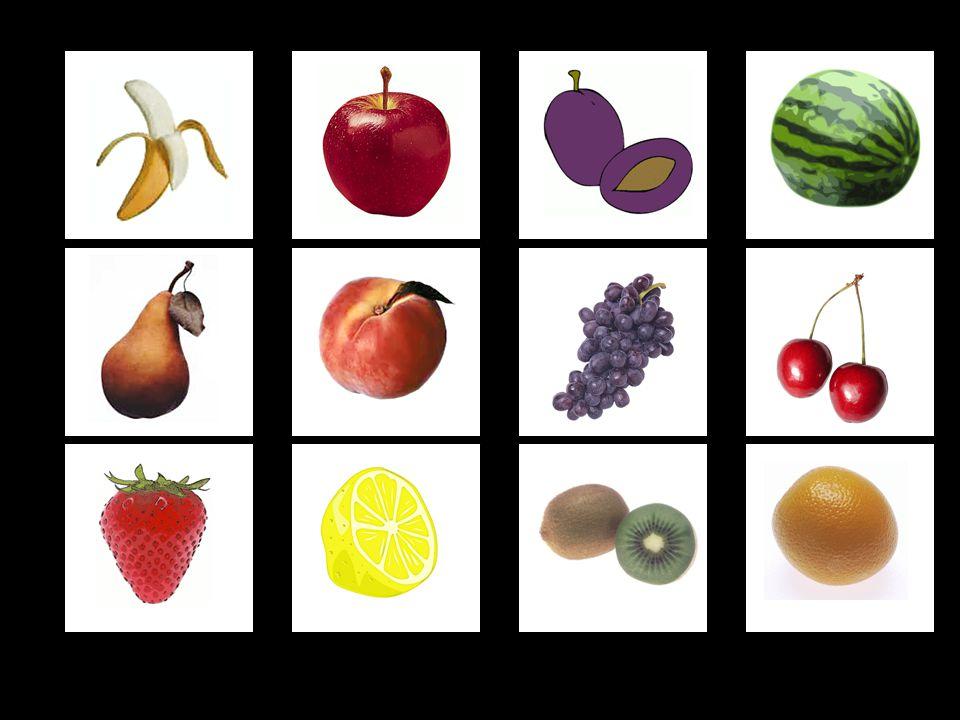 5. ÚKOL: Zapamatování si pozice ovoce B (velmi těžké) Nejprve dítě fixuje zrakem pozici ovoce, po kliknutí na repráček se ozve zvuková nahrávka názvu