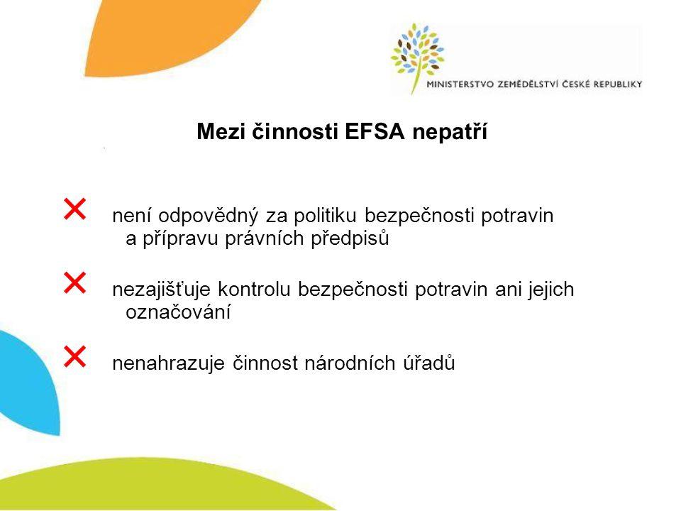 Mezi činnosti EFSA nepatří  není odpovědný za politiku bezpečnosti potravin a přípravu právních předpisů  nezajišťuje kontrolu bezpečnosti potravin ani jejich označování  nenahrazuje činnost národních úřadů
