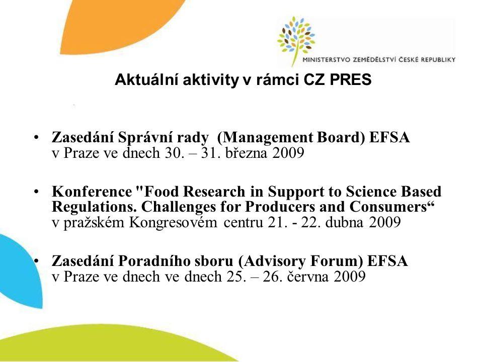 Zasedání Správní rady (Management Board) EFSA v Praze ve dnech 30.