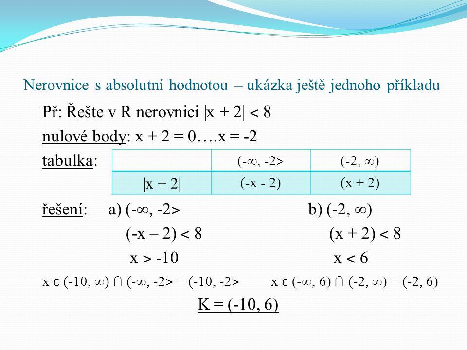"""Nerovnice s absolutní hodnotou – příklady Př: Řešte nerovnice a na závěr doplňte citát (využijte písmen u správných řešení): Albert Einstein: """"…… je pro mysl člověka složitější než matematika, mnohdy s neřešitelnými příklady."""