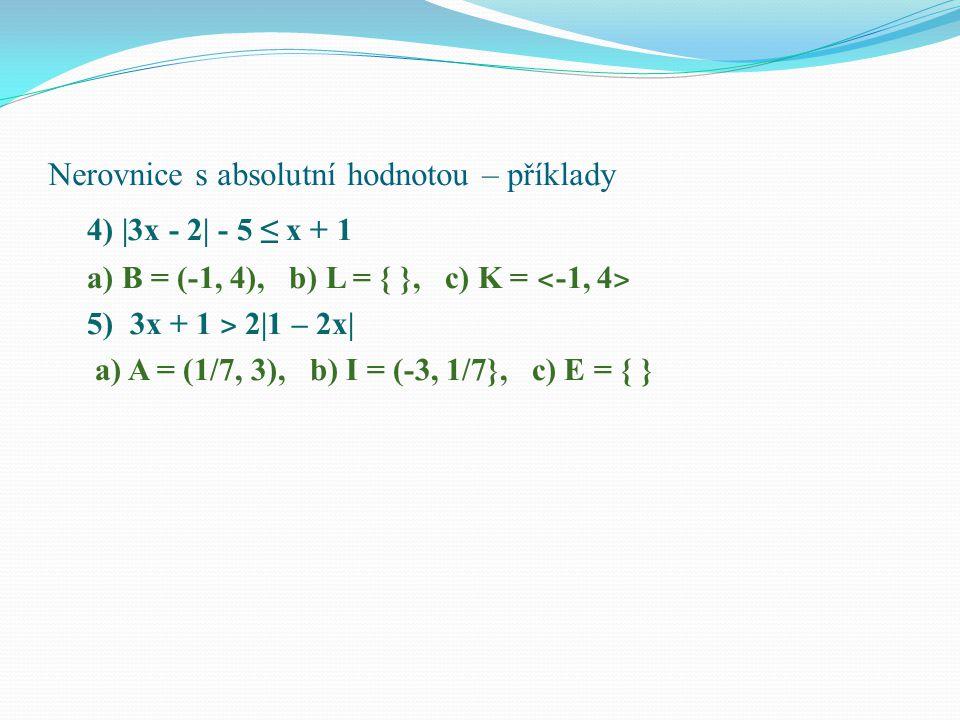 """Nerovnice s absolutní hodnotou – správné řešení Albert Einstein: """"……….… je pro mysl člověka složitější než matematika, mnohdy s neřešitelnými příklady."""