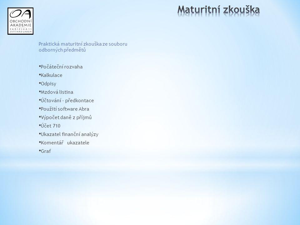 Praktická maturitní zkouška ze souboru odborných předmětů Počáteční rozvaha Kalkulace Odpisy Mzdová listina Účtování - předkontace Použití software Ab