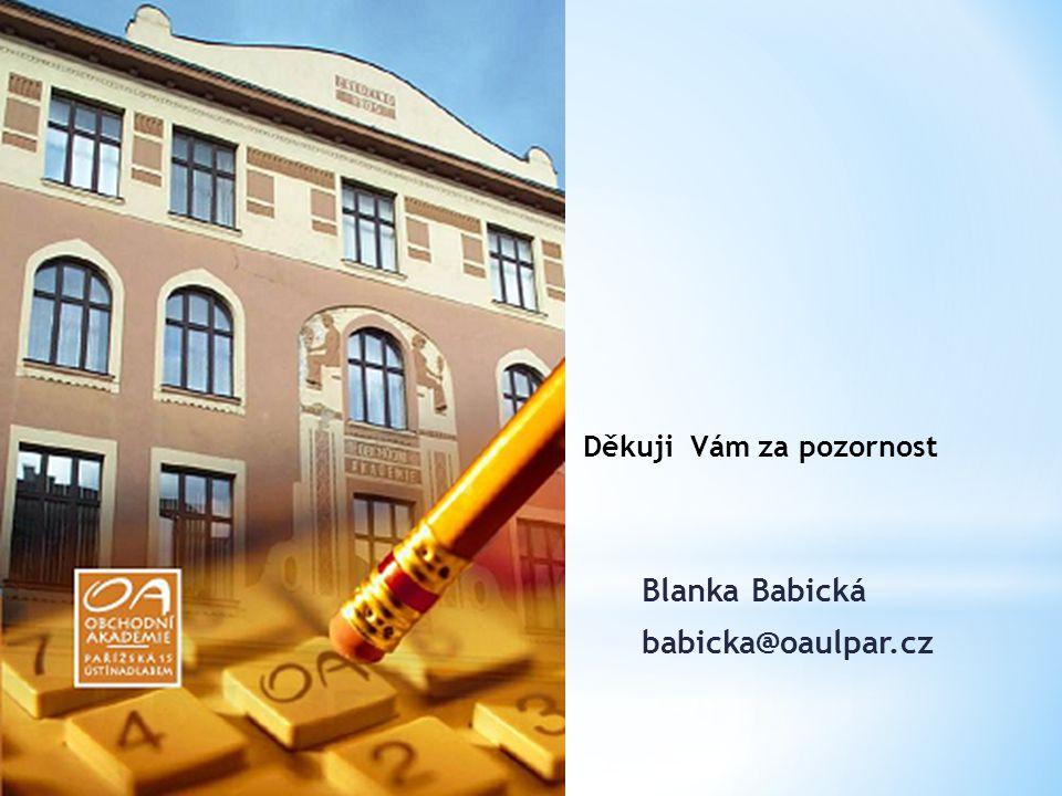 Děkuji Vám za pozornost Blanka Babická babicka@oaulpar.cz