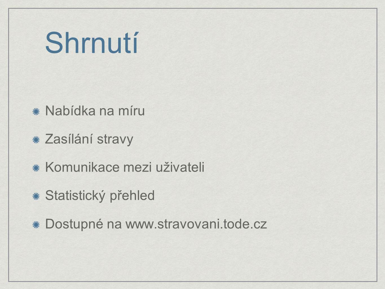 Shrnutí Nabídka na míru Zasílání stravy Komunikace mezi uživateli Statistický přehled Dostupné na www.stravovani.tode.cz