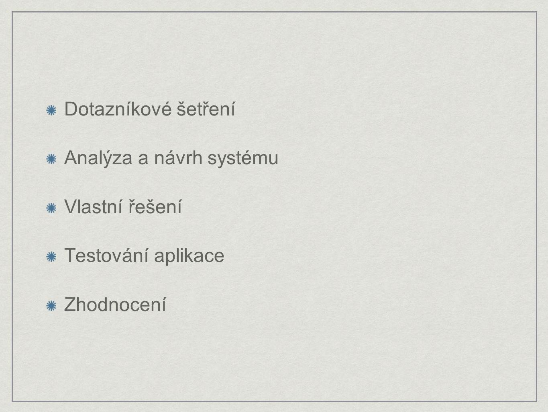 Dotazníkové šetření Analýza a návrh systému Vlastní řešení Testování aplikace Zhodnocení