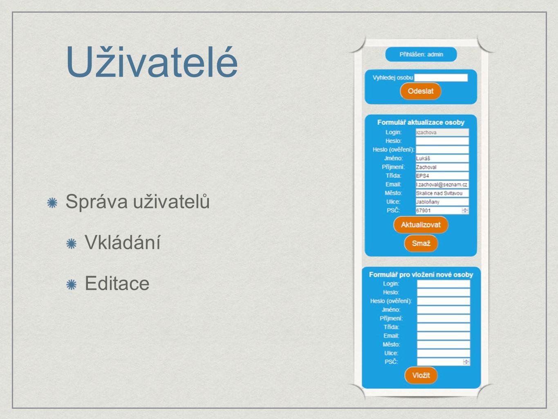 Správa uživatelů Vkládání Editace Uživatelé