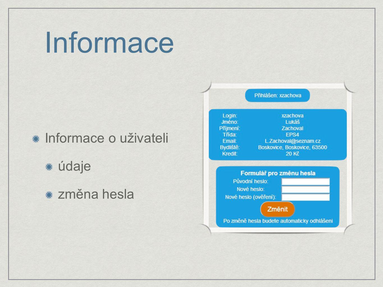 Informace Informace o uživateli údaje změna hesla
