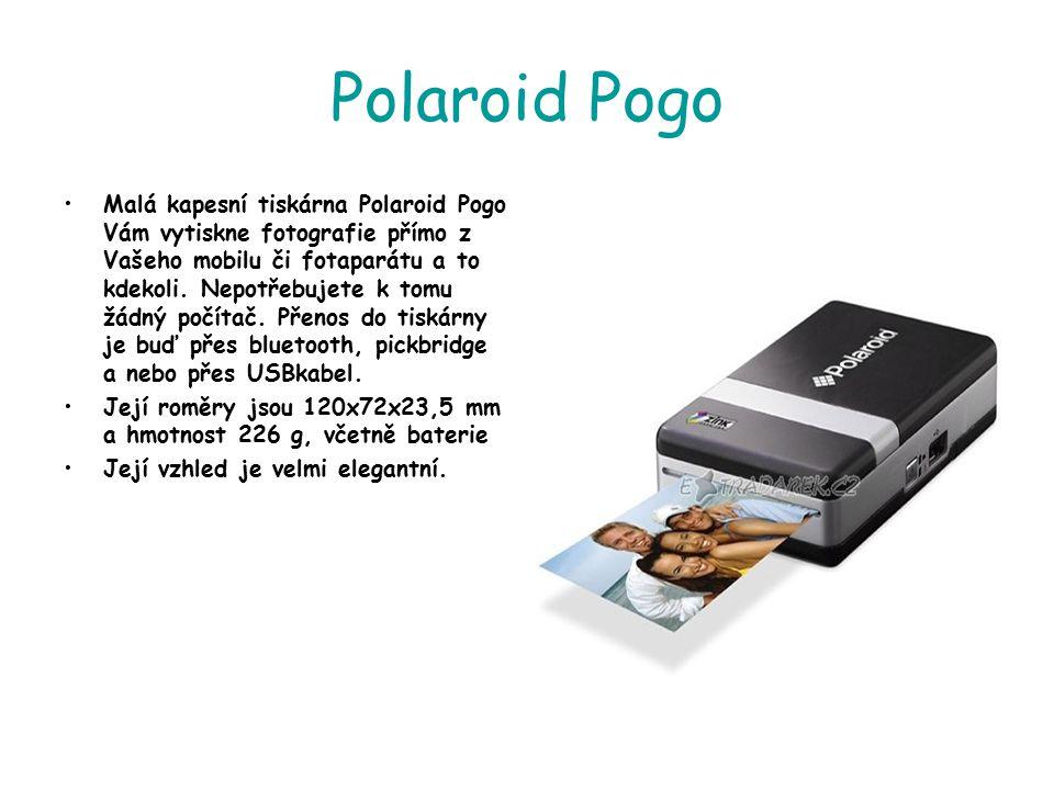 Polaroid Pogo Malá kapesní tiskárna Polaroid Pogo Vám vytiskne fotografie přímo z Vašeho mobilu či fotaparátu a to kdekoli. Nepotřebujete k tomu žádný