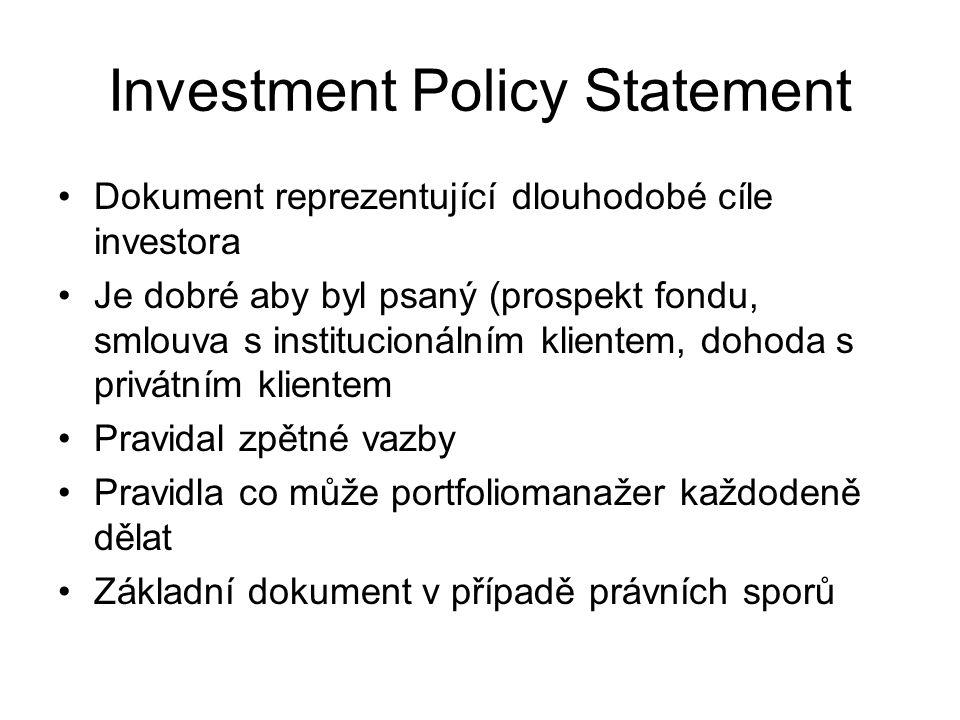 Investment Policy Statement Dokument reprezentující dlouhodobé cíle investora Je dobré aby byl psaný (prospekt fondu, smlouva s institucionálním klien