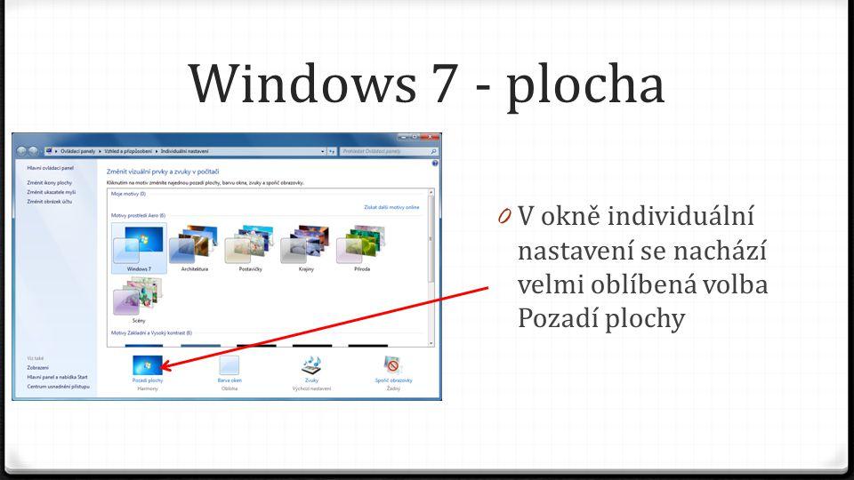 Windows 7 - plocha 0 V okně individuální nastavení se nachází velmi oblíbená volba Pozadí plochy