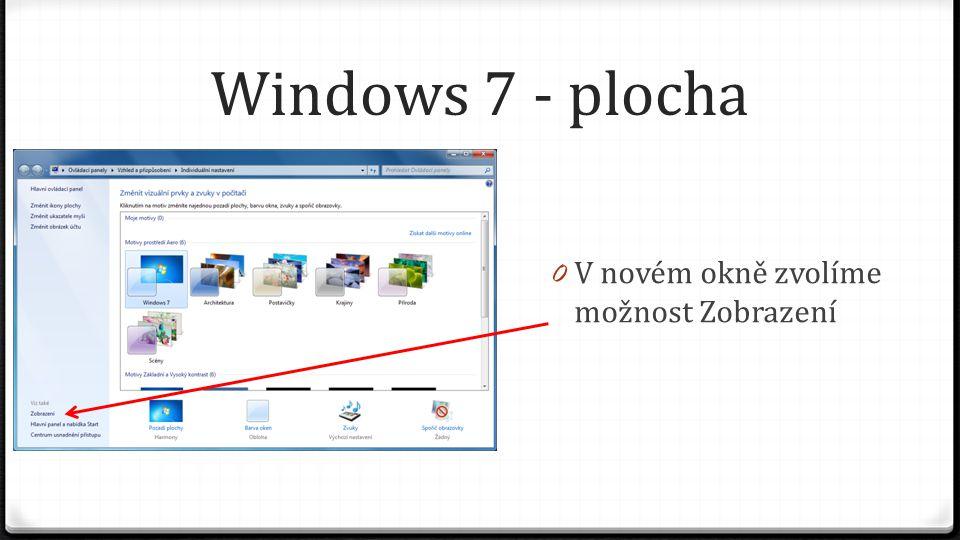 Windows 7 - plocha 0 V novém okně zvolíme možnost Zobrazení