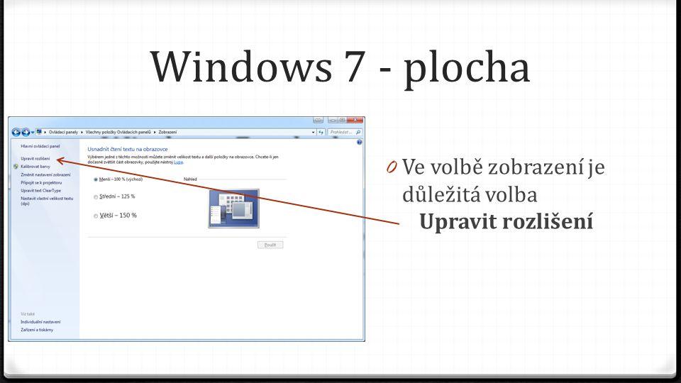Windows 7 - plocha 0 Ve volbě zobrazení je důležitá volba Upravit rozlišení