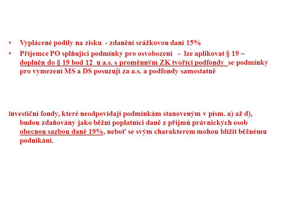 Veřejně prospěšní poplatníci VIII.Položky snižující základ daně § 20 odst.