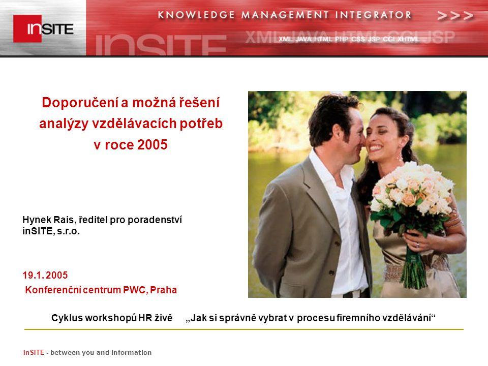 inSITE - between you and information Doporučení a možná řešení analýzy vzdělávacích potřeb v roce 2005 Hynek Rais, ředitel pro poradenství inSITE, s.r.o.