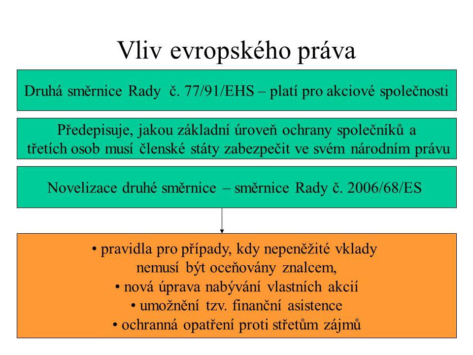 Vliv evropského práva Druhá směrnice Rady č.