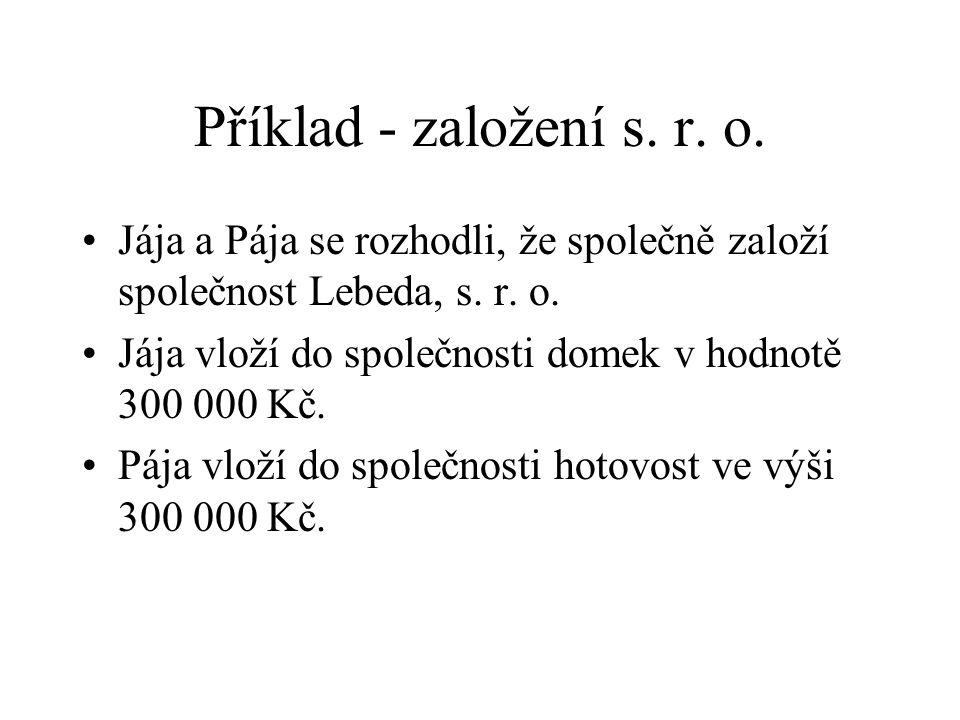 Příklad - založení s. r. o. Jája a Pája se rozhodli, že společně založí společnost Lebeda, s.