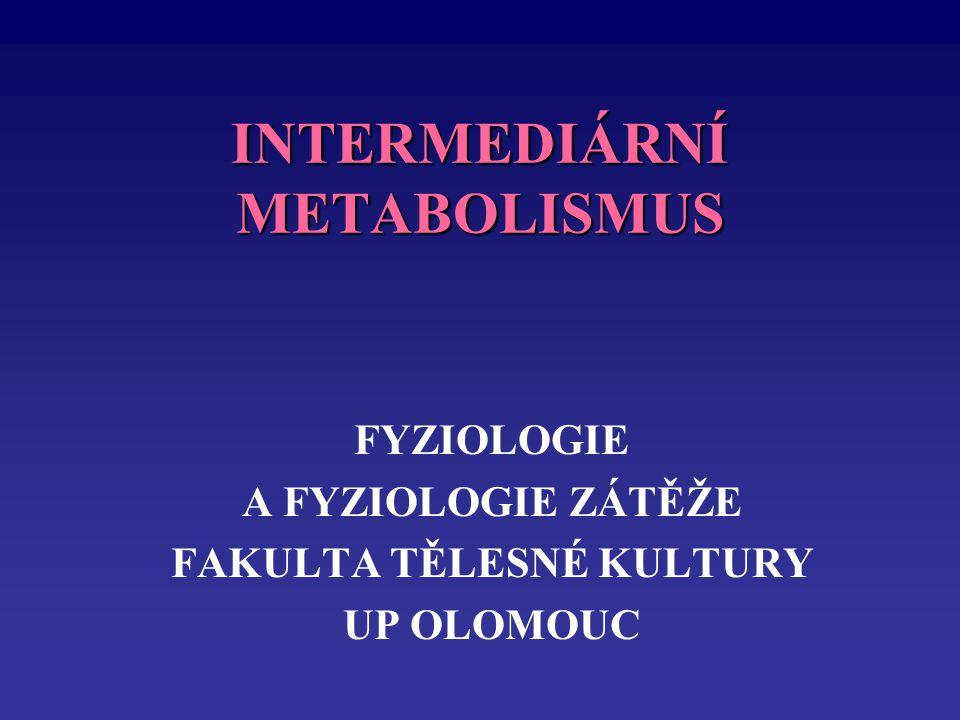 INTERMEDIÁRNÍ METABOLISMUS FYZIOLOGIE A FYZIOLOGIE ZÁTĚŽE FAKULTA TĚLESNÉ KULTURY UP OLOMOUC