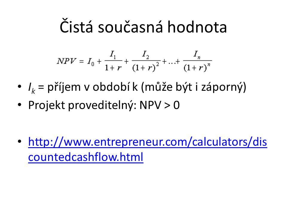 Čistá současná hodnota I k = příjem v období k (může být i záporný) Projekt proveditelný: NPV > 0 http://www.entrepreneur.com/calculators/dis countedcashflow.html http://www.entrepreneur.com/calculators/dis countedcashflow.html