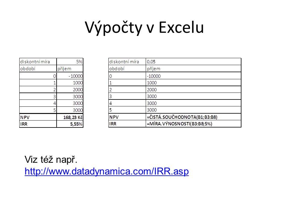 Výpočty v Excelu Viz též např.