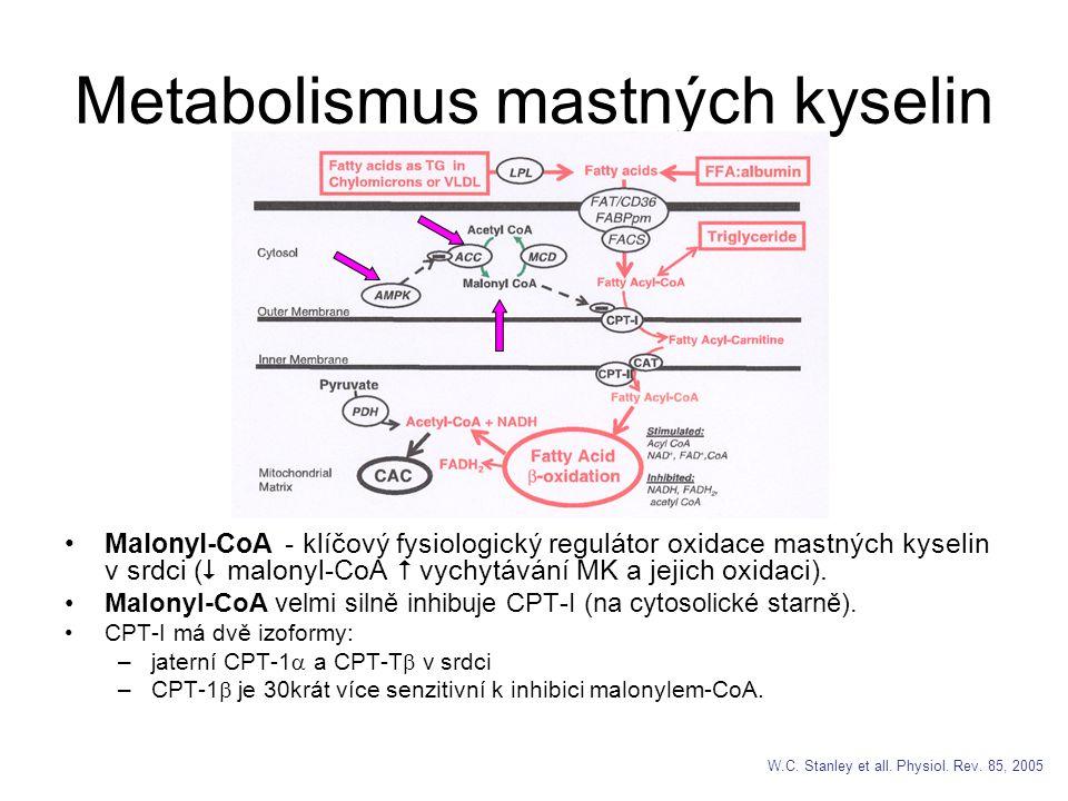 Metabolismus mastných kyselin Malonyl-CoA - klíčový fysiologický regulátor oxidace mastných kyselin v srdci (  malonyl-CoA  vychytávání MK a jejich oxidaci).