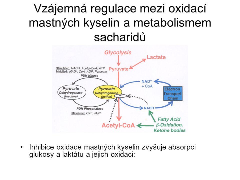 Vzájemná regulace mezi oxidací mastných kyselin a metabolismem sacharidů Inhibice oxidace mastných kyselin zvyšuje absorpci glukosy a laktátu a jejich oxidaci: