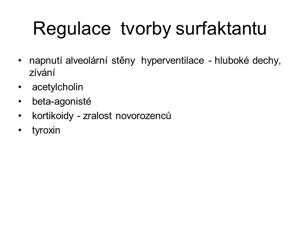 Regulace tvorby surfaktantu napnutí alveolární stěny hyperventilace - hluboké dechy, zívání acetylcholin beta-agonisté kortikoidy - zralost novorozenců tyroxin